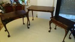 Antik barok őzlábas 3 darab asztal 60x45x34