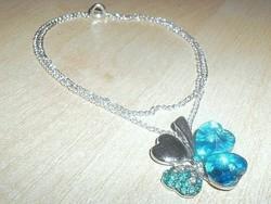 Szerencse-Szív - Lóhere Kristály ezüst- fehérarany nyaklánc