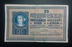 Osztrák-Magyar 25 Korona 1918 serie 1029 ! 003271 RITKA!