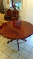 Antik barok kinyitható ,póklábú,intarziás étkezőasztal 118x77cm ami 158ra hosszabitható