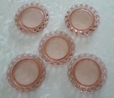 Régi üvegtányér retro rózsaszín tányér 5 db