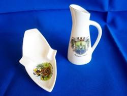 Bavaria porcelán kancsó-váza és hamutál, hamutartó tájképpel