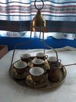 Réz török kávés teás készlet hordozó tálcával