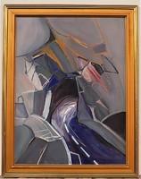 Turcsán Miklós (1944 - ) Alagút c.Képcsarnokos festménye 92x72cm EREDETI GARANCIÁVAL ! -