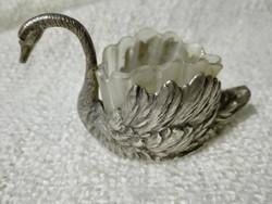 Ezüst hattyú, eredeti üvegbetéttel, fűszertartó (fogpiszkáló tartó) 1888-ban rendszeresített