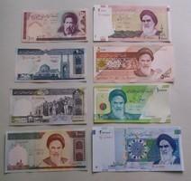Iráni sor 8 db Unc bankjegy 100 -20 000 Rial.