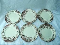 6 db fajansz sütis tányér