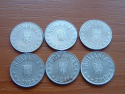 ROMÁNIA 10 BANI 2005,2006,2007,2008,2011,2013 6 DB