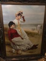 Kalapos hölgyek a parton Nagy méretű olaj vászon festmény