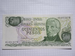 Argentína Unc 500 Peso 1977 - 1982  !! Ritka !