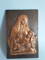 Gyönyörű réz falikép,Madonna a Kisdeddel