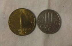 Osztrák pénz - érme (Schilling és Groschen, Ausztria, 1987-1988)