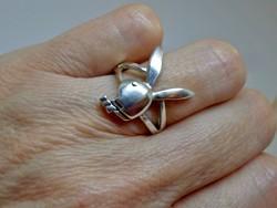 Szép régi nyuszis mesterjegyes ezüstgyűrű
