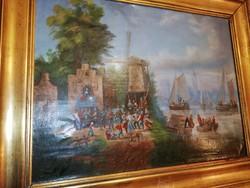 Festmény olaj vászon antik festmény