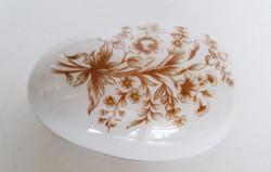 Régi Hollóházi porcelán húsvéti tojás bonbonier virágos cukortartó 14,5 cm