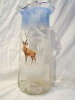 Antik szarvasos festett szakított huta üveg kancsó 27cm