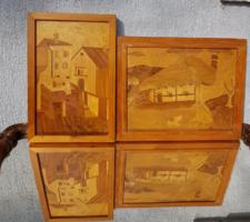 Két intarziás fakép, gyönyörű állapotban, 30 cm környékén