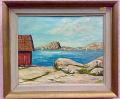Sziklás öböl, vitorlásokkal és sirályokkal, kortárs keretezett mediterrán festmény