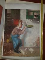 Huszàr Imre: Madarat etető fiú, vászon, olaj
