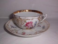 Dúsan díszített,antik teás csésze alátéttel