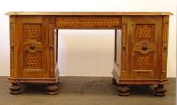 0J846 Antik parketta intarziás barokk íróasztal