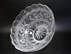 Régi virágmintás csiszolt üveg tál , asztalközép