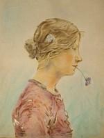 Fiatal lány virággal,ism. festő