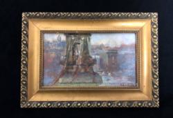 Gács István- Felrobbantott Lánchíd című festménye