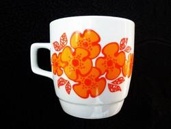 Zsolnay retró narancsárga virágos csésze 1.