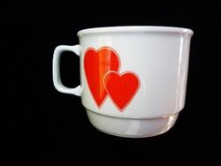 Zsolnay retró szívecskés kakaós csésze