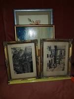 Életképek a főtérről, két tusrajz, két szép kis keretben