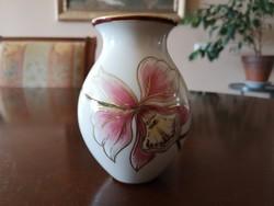 Gyönyörű Zsolnay orchideás romantikus kis váza, hibátlan, új