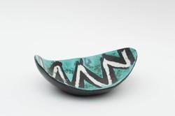 Gorka Lívia kék-fekete-fehér asztali tál - retro iparművész kerámia