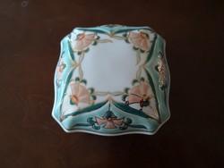 Álomszép Zsolnay perzsa mintás szögletes türkiz bonbonier nagy, hibátlan, új