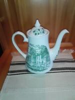 Angol porcelán, jelenetes tea-tej kiöntő.