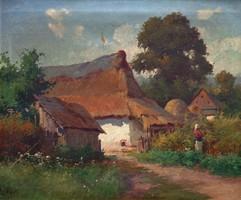 """Zorkóczy Gyula ( 1873 - 1932 ) """" Falusi udvar """""""