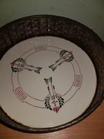 Szecessziós vas kínáló tál porcelán berakással
