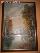 Fellner - Folyópart.Vászon festmény 60 x 90 cm.