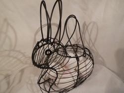 Fém - kosár - nyuszi alakú - 20 x 20 x 12 cm 6 tojás fér bele - NEM CSAK HÚSVÉTRA!