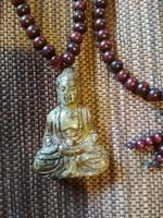 Jade faragott Buddha szobor medál mala, imagyöngy
