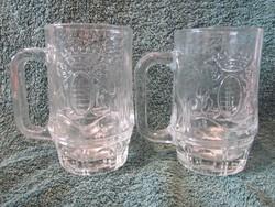 Címeres üveg sörös korsó párban