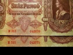 SZÁMKÖVETŐ - 100 PENGŐ-PÁROS..aUNC TARTÁSBAN!