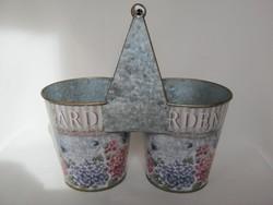 Vintage fém hortenziás virágtartó kaspó