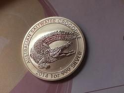 2014 Ausztrál krokodil ezüst 31,1 gramm 0,999 gyönyörű