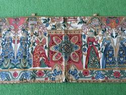 Antik hosszú falvédő falikárpit, reneszánsz mintázattal  185 x 42
