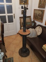 Antik állólámpa, márvány lerakóperemmel, rézszerelékkel együtt 160 cm magas, kovácsoltvas?