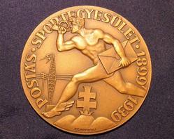 Ritka bronz plakett érem - Postás Sportegyesület, 40. évforduló, 1899 - 1939 -  Klaudinyi László