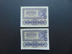 2 darab 10 korona 1922 Sorszámkövető Hajtatlan bankjegyek