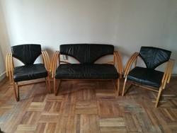 Extra skandináv design ülőgarnitúra bőrrel borítva, azonnal használható