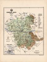 Komárom megye térkép 1888 (3), vármegye, atlasz, Kogutowicz Manó, 43 x 56 cm, Gönczy Pál, nagy méret